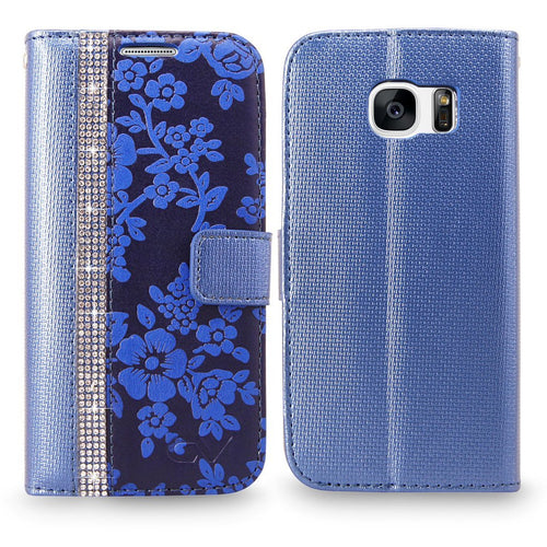 S7 Case, Galaxy S7 Case, Cellularvilla [Diamond Jewel] Embossed Flower Design Premium PU Leather Wallet Case [Card Slots] [Stand Feature] Folio Flip Cover For Samsung Galaxy S7 (Navy Blue Bling)