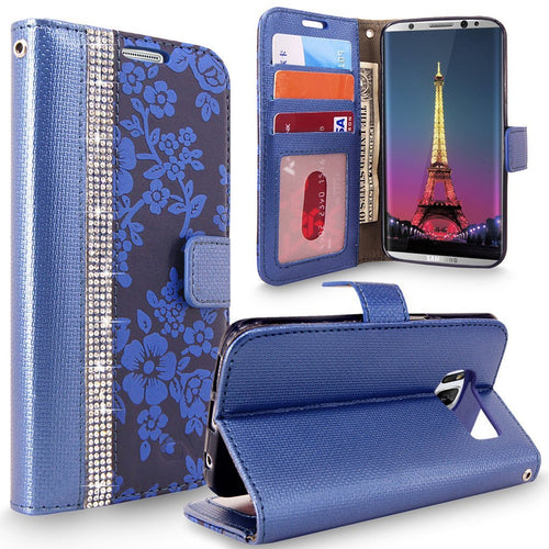S8 Case, Galaxy S8 Case, Cellularvilla [Diamond Jewel] Embossed Flower Design Premium PU Leather Wallet Case [Card Slots] [Stand Feature] Folio Flip Cover For Samsung Galaxy S8