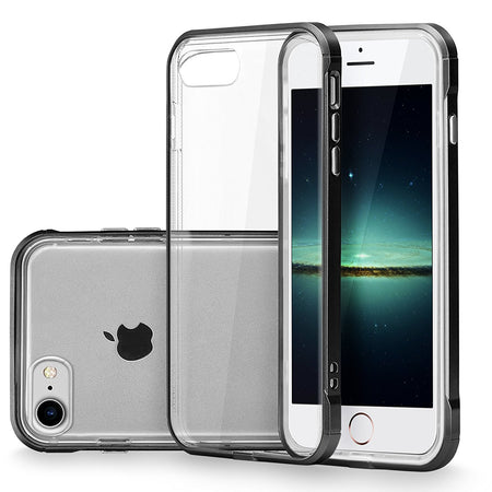 iPhone 7 Case, Cellularvilla [Slim] [Air Cushion] Ultra Hybrid Hard Anti-Scratch Transparent Clear Back Protective Case with Shockproof Soft TPU Bumper Cover For Apple iPhone 7 4.7 Inch (Clear/Black)