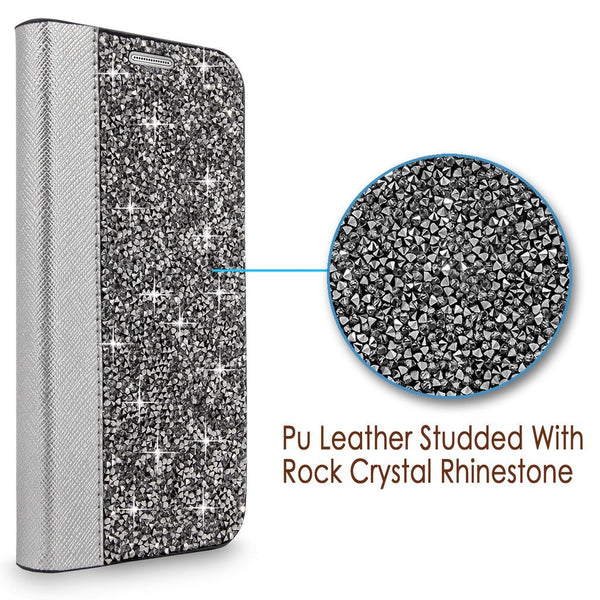 S7 Case, Galaxy S7 Wallet Case, Cellularvilla [Slim Fit] Luxury Rock Crystal Rhinestone PU Leather Wallet Diamond Case [Card Slot] Flip Protective Stand Cover for Samsung Galaxy S7