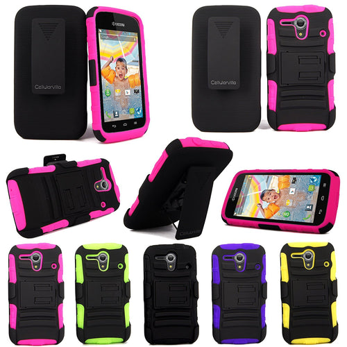 For Kyocera Hydro Edge C5215 CellularvillaTM Black/Pink 3PC 3-in-1 Hard and Soft Kickstand Case with Holster Belt Clip. (Black/Pink)