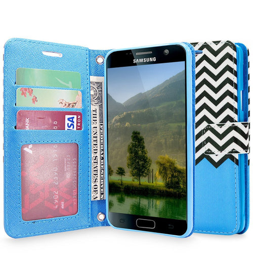 S7 Case, Galaxy S7 Case, Cellularvilla [Zig Zag Pattern] Chevron Design Premium Pu Leather Wallet Case [Stand Feature] Card Slots Flip Protective Cover For Samsung Galaxy S7