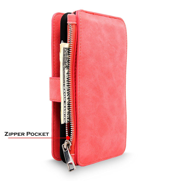 iPhone 6/6S Case, Cellularvilla Leather Zipper Wallet Case Magnetic Detachable 14 Card Slots Pocket and Back Protective Shell Cover For Apple iPhone 6 / 6S 4.7 Inch