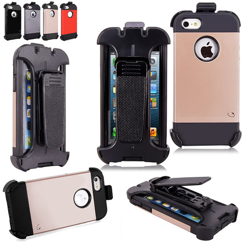 "iPhone 6 Plus - Cellularvilla Hard Soft Dual Layer Hybrid Armor Shell Holster Locking Belt Swivel Clip Kickstand Case Cover with Built-In Screen Protector For Apple iPhone 6 Plus 5.5"" inch"