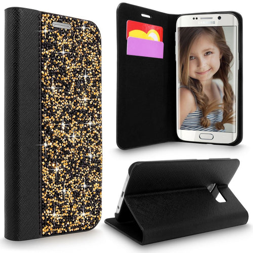 S7 Edge Case, Galaxy S7 Edge Case, Cellularvilla [Diamond] Luxury Rock Crystal Rhinestone PU Leather Wallet Case [Card Slot] Flip Protective Stand Cover for Samsung Galaxy S7 Edge