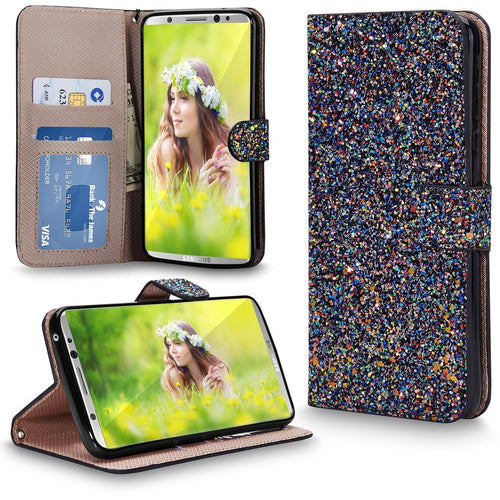 Galaxy S8 case, Cellularvilla Galaxy S8 Wallet Case [Bling] Luxury Multi Tonal Glitter PU Leather Wallet Case [Card Slot] Flip Protective Stand Cover for Samsung Galaxy S8
