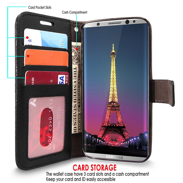 Galaxy S8 Plus Case, Cellularvilla [Diamond Jewel] Embossed Flower Design Premium PU Leather Wallet Case [Card Slots] [Stand Feature] Flip Cover For Samsung Galaxy S8 Plus