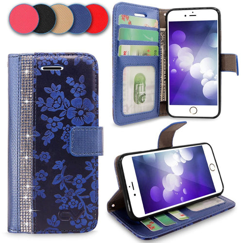 iPhone 7 Plus Case, Cellularvilla [Diamond] Embossed Flower Design Premium PU Leather Wallet Case [Card Slot] [Stand Feature] Protective Folio Flip Cover For Apple iPhone 7 Plus
