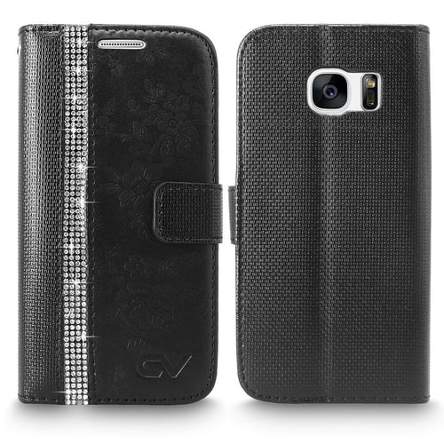 S7 Case, Galaxy S7 Case, Cellularvilla [Diamond Jewel] Embossed Flower Design Premium PU Leather Wallet Case [Card Slots] [Stand Feature] Folio Flip Cover For Samsung Galaxy S7 (Black Bling)