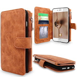 iPhone 6 Plus / 6S Plus Case, Cellularvilla Leather Wallet Case with Zipper & Button Closure, Luxury Finish and Pockets to Store Credit Cards, ID and Cash for Apple iPhone 6 Plus (5.5)