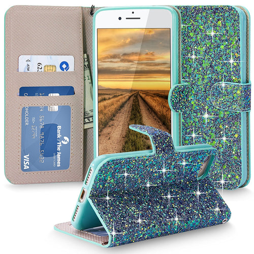 iPhone 7 Case, Cellularvilla [Stand Feature] [Bling] Luxury Multi Tonal Glitter PU Leather Wallet Case [Card Slot] [Wristlet] Flip Protective Stand Cover for Apple iPhone 7 4.7 Inch