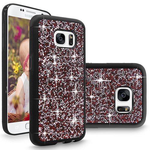 S7 Case, Galaxy S7 case, Cellularvilla [Slim Fit] [Hybrid] Luxury Bling Jewel Rock Crystal Rhinestone Diamond Case [Shockproof] Dual Layer Protective Shell Cover for Samsung Galaxy S7