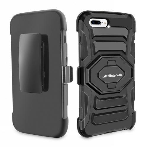 For Apple iPhone 7 Plus Dual Layer Shockproof Armor Rugged Combo Holster Case with Belt Clip Swivel Kickstand Cover