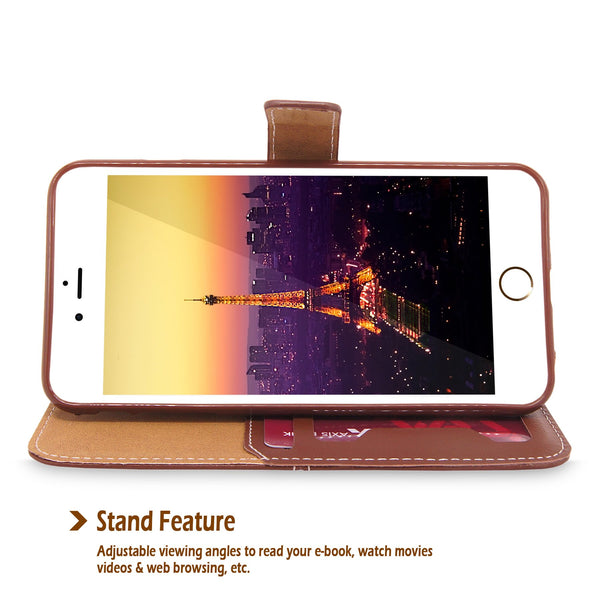 For Apple iPhone 6 / 6S 4.7 inch Flip Stand Feature Wallet Case PU Leather Card Slot Holder Cover