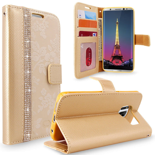 For Samsung Galaxy S8 Embossed Flower Design Protective Leather  Flip Card Slot Wallet Case Cover