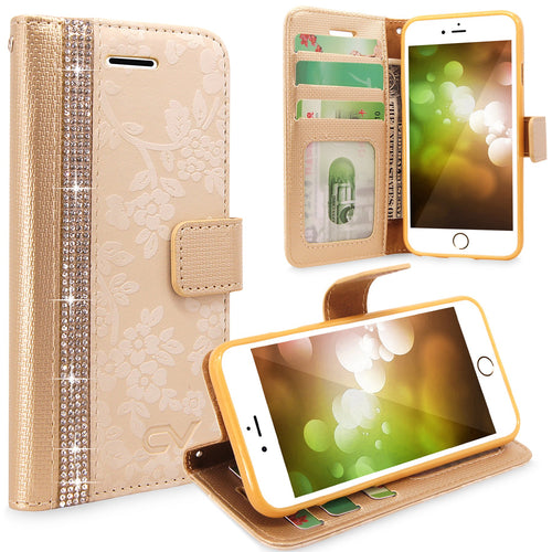 For Apple iPhone 6 Plus / iPhone 6S Plus Embossed Flower Design Protective Leather  Flip Card Pocket Wallet Case Cover