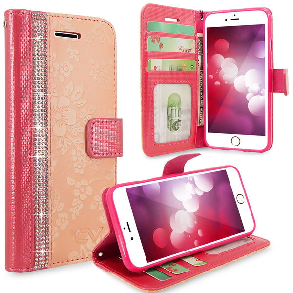 For Apple iPhone 6 / 6S 4.7 inch Embossed Flower Design Protective Leather  Flip Card Pocket Wallet Case Cover