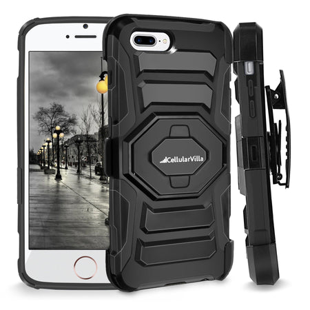 iPhone 7 Plus Case, Cellularvilla Shockproof [Dual Layer] [Heavy Duty] Armor Rugged Combo Holster Case with [Belt Swivel Clip] Swivel Kickstand for Apple iPhone 7 Plus (5.5 Inch) (Black)