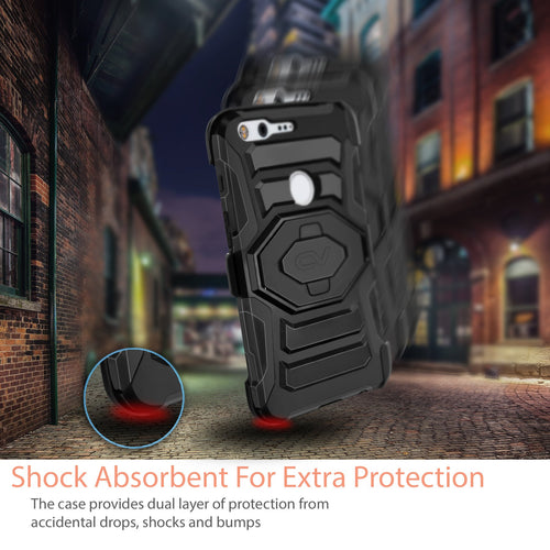 For Google Pixel / Pixel XL Hybrid Advanced Tough Armor Shockproof Belt Clip Holster Kickstand Case