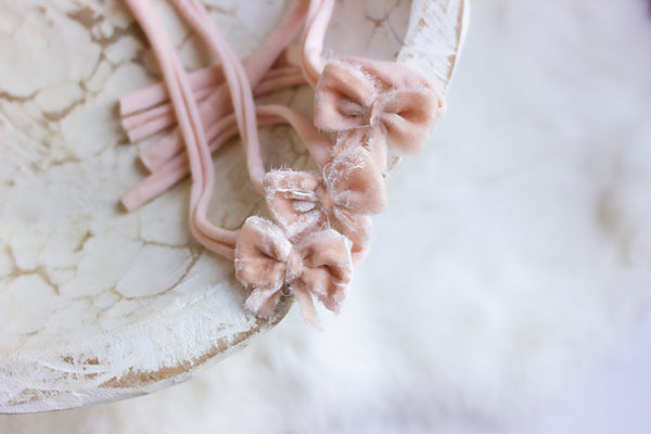 blush velvet bow headband