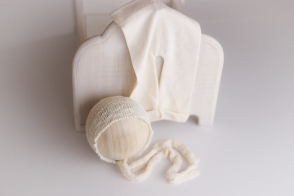vintage cream texture knit bonnet + pant set CLEARANCE