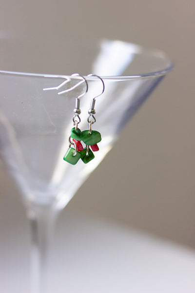 Holiday green stone earrings