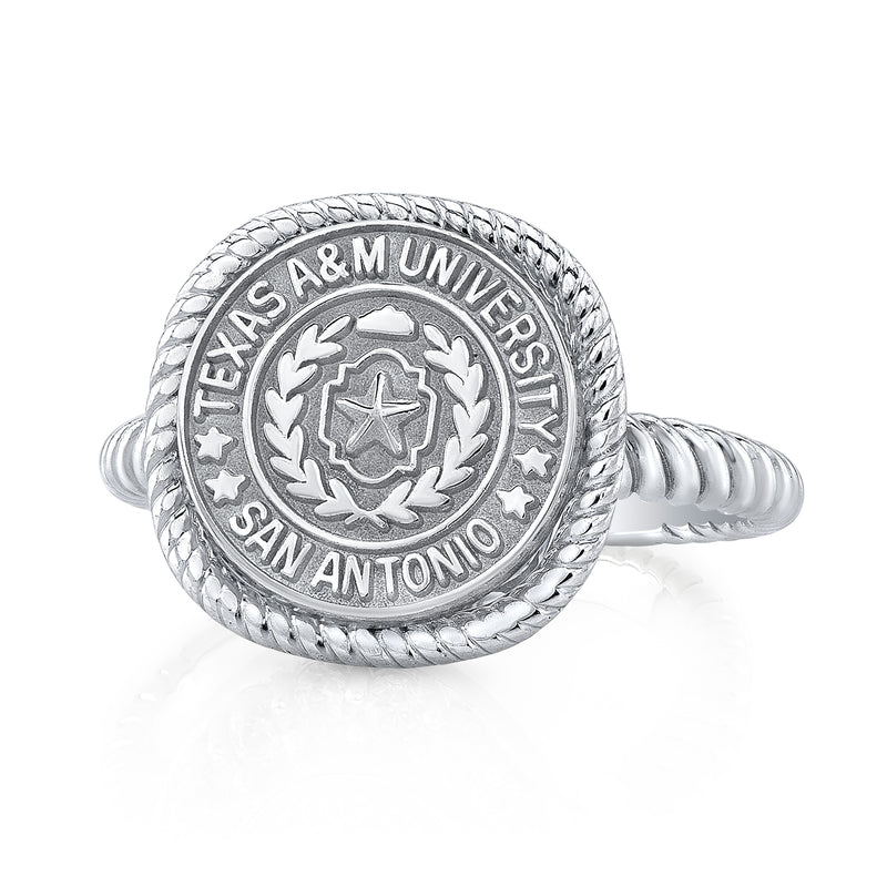 The Classic 222 university collection ring in white gold.