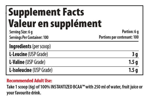 Pro Line 100% Instantized BCAA Powder Supplement Facts