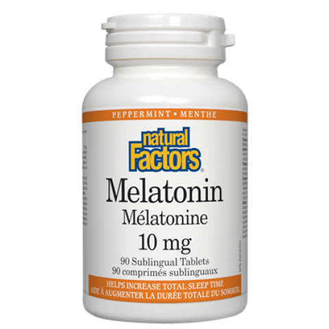 Natural Factors Melatonin 10mg Tablets - Peppermint Flavour | Insomnia & Sleep | Natural Factors