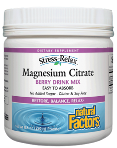 Natural Factors Magnesium Citrate 250g Berry Powder
