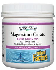 Natural Factors Magnesium Citrate 250g Powder | Calcium & Magnesium | Natural Factors