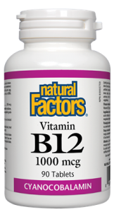 Natural Factors Vitamin B12 Cyanocobalamine 1000mg 90 Tablets