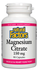 Natural Factors Magnesium Citrate 150mg Capsules | Calcium & Magnesium | Natural Factors