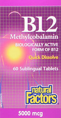 Natural Factors B12 Methylcobalamin 5000mcg Sublingual Tablets | Vitamin B | Natural Factors
