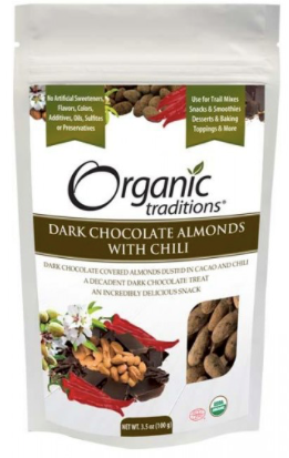 Organic Traditions Chocolate Almonds with Chili | Nuts & Seeds | Organic Traditions