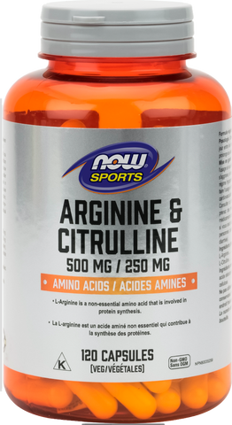 NOW Arginine with Citrulline 500mg 120 capsules