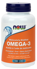 NOW Omega-3 1000mg Moleculary Distilled Cholesterol-Free Softgels | Omega 3 Fish Oil EPA / DHA | NOW Foods