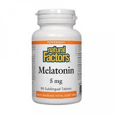 Natural Factors Melatonin 5mg Tablets - Peppermint Flavour | Insomnia & Sleep | Natural Factors