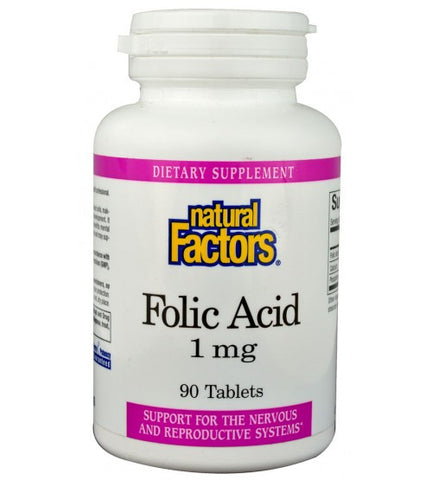Natural Factors Folic Acid 1mg Tablets 90 Tablets