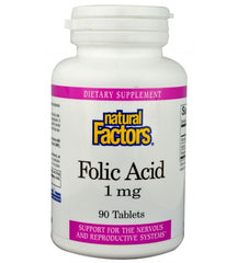 Natural Factors Folic Acid 1mg Tablets | Vitamin B | Natural Factors