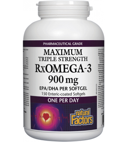 Natural Factors RxOmega-3 Triple Strength 900mg EPA/DHA | Heart & Circulatory Health | Natural Factors