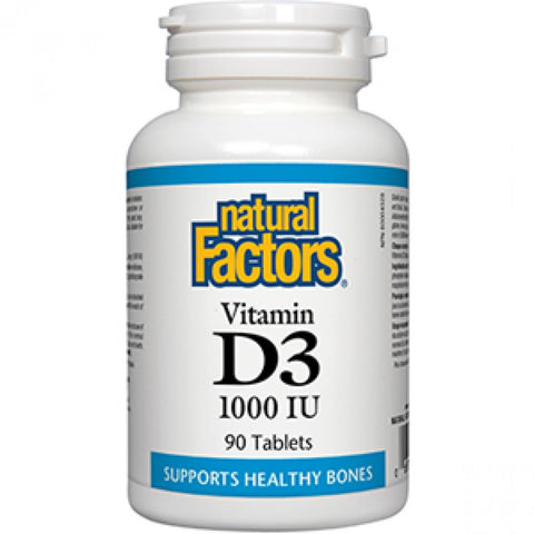 Natural Factors Vitamin D3 1000 IU Tablets - Body Energy Club