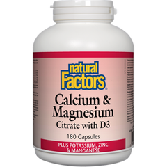 Natural Factors Calcium & Magnesium Citrate W D3 Plus Potassium, Zinc, Manganese 180 Capsules