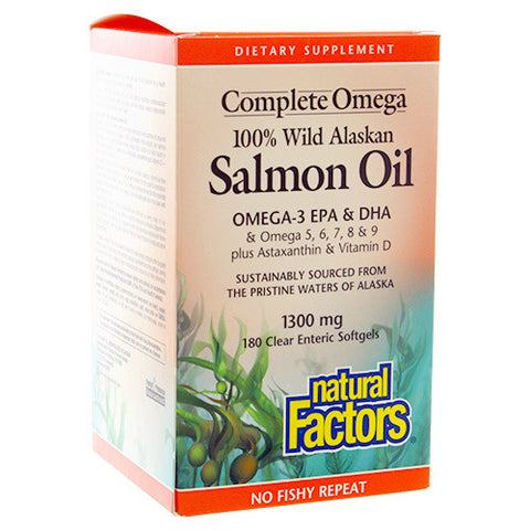 Natural Factors 100% Wild Alaskan Salmon Oil Complete Omega 1300mg
