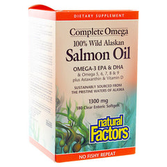 Natural Factors 100% Wild Alaskan Salmon Oil Complete Omega 1300mg | Omega 3 Fish Oil EPA / DHA | Natural Factors