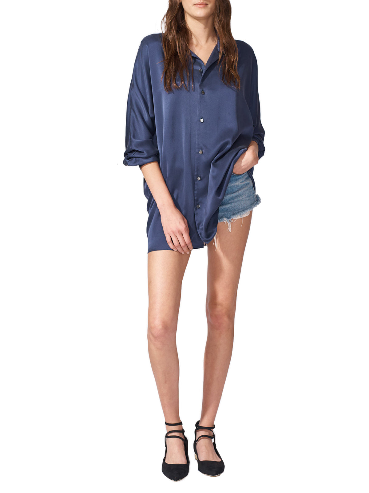Oversized Navy Dolman Blouse