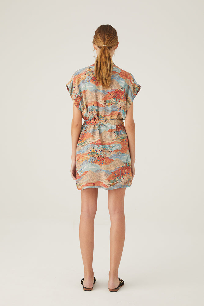 Embroidered Amaru Short Dress