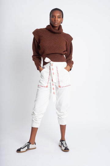 Embroidered Gouyen Pants White
