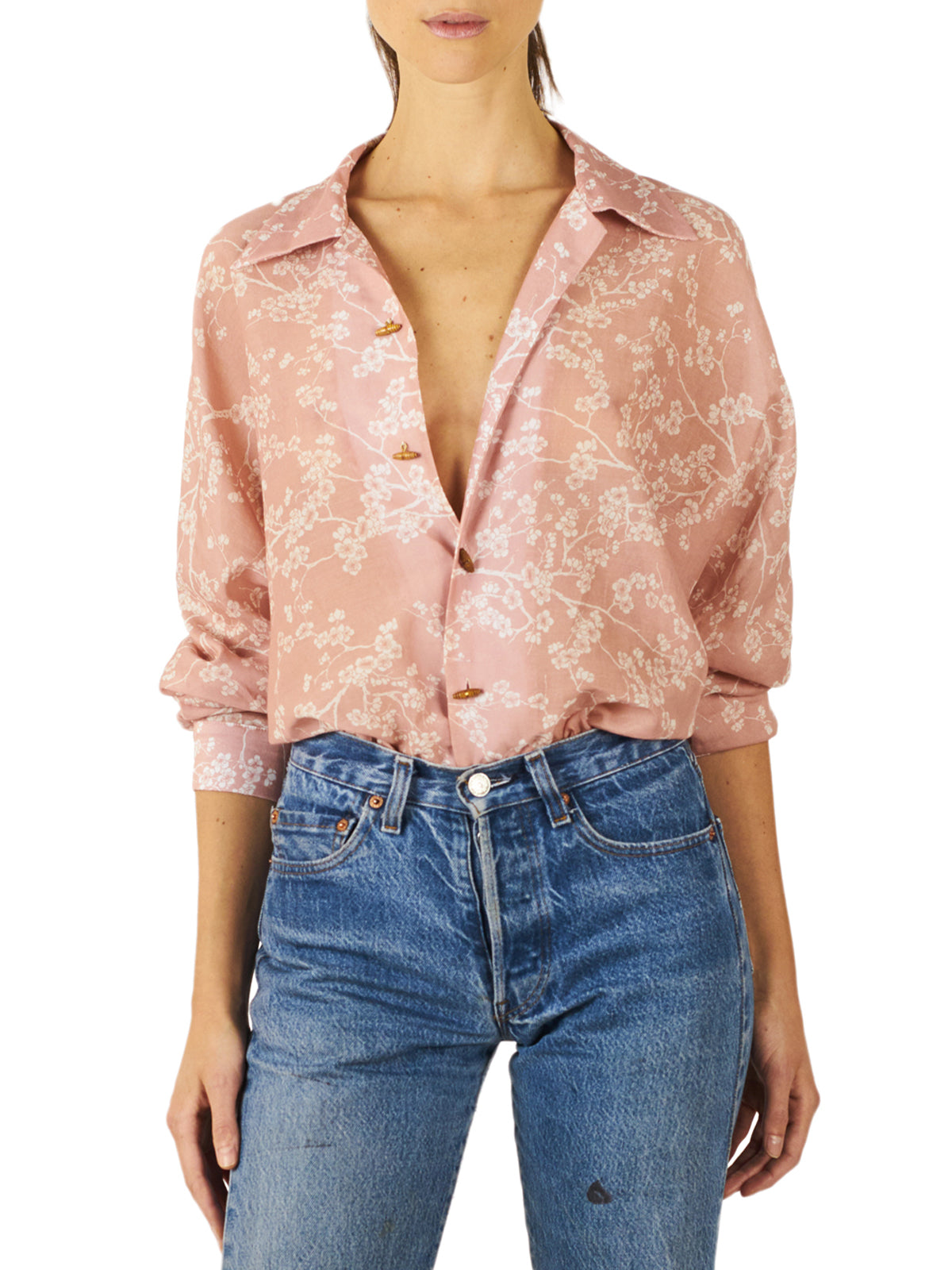 Oversized Cherry Blossoms Dolman Blouse