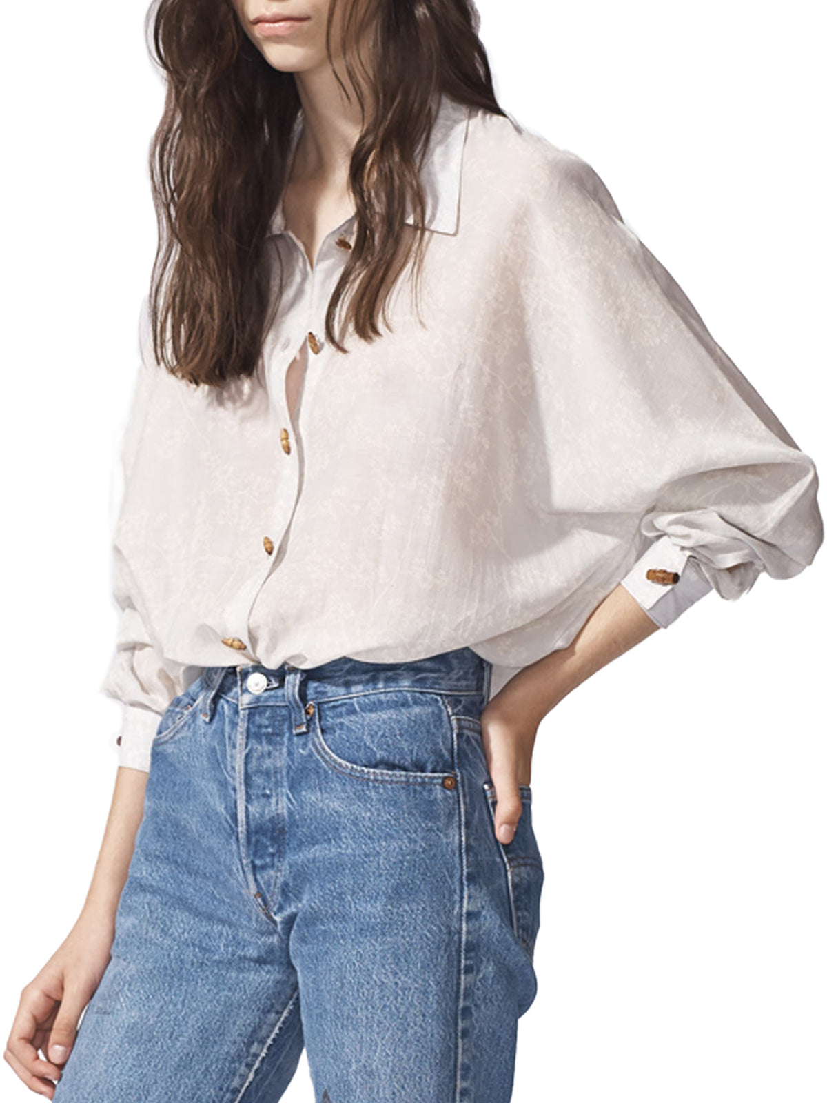 Oversized Grey Cherry Blossoms Dolman Blouse
